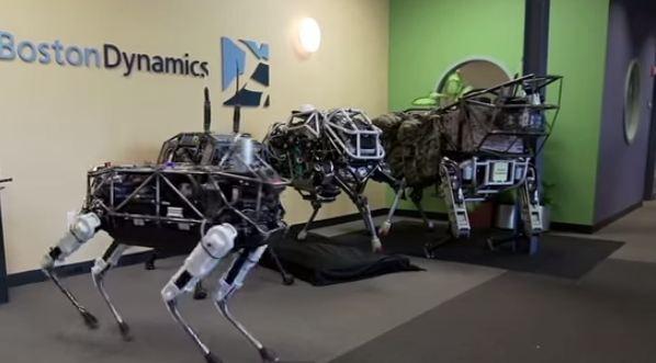 Robot Walking Dog Spot Walks Past Its Robot