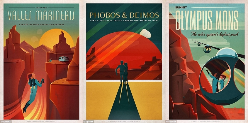 Spacex S Lovely Art Deco Posters Promote Tourism On Mars